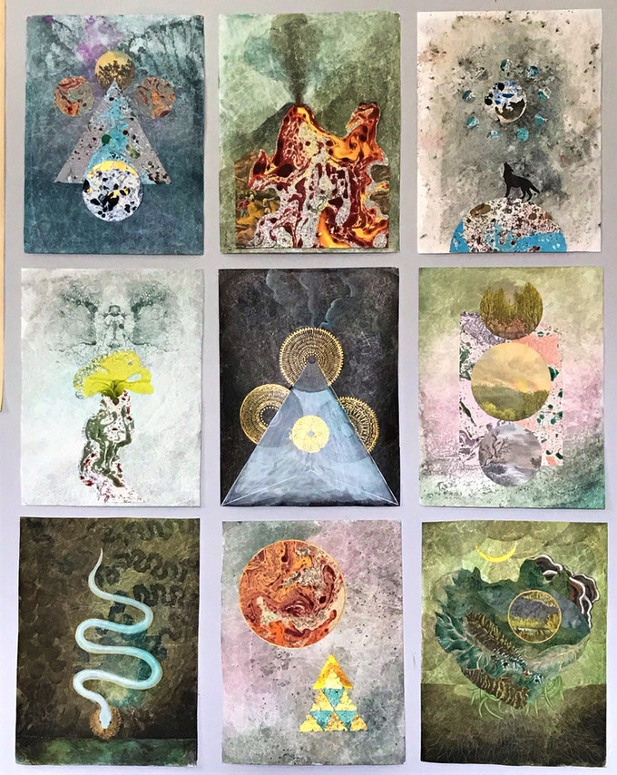 Some of the original paintings for the cards