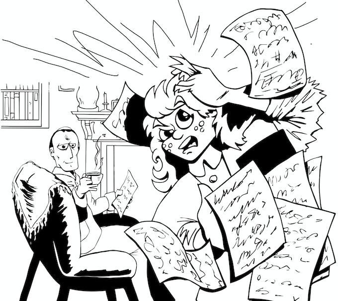 Sherlock Holmes with an angry Emma MacDougall