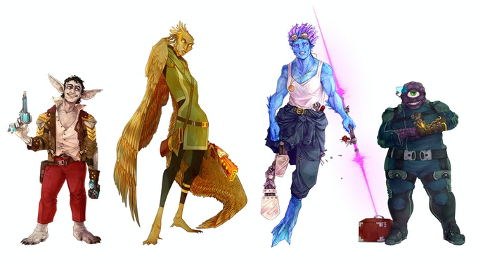 The Marshal, the Psion, the Oracle, and the Roboticist. Art by Emilie Kelly.
