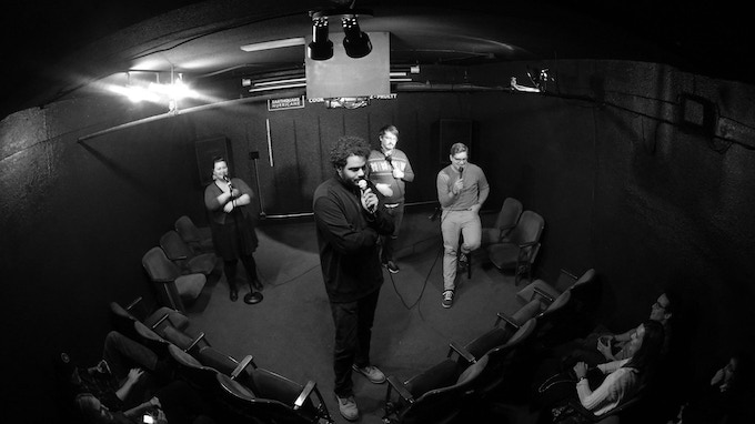 Bri Pruett, Curtis Cook, Anthony Lopez, and Alex Falcone at Kickstand's first home in the basement of Velo Cult (circa 2014)