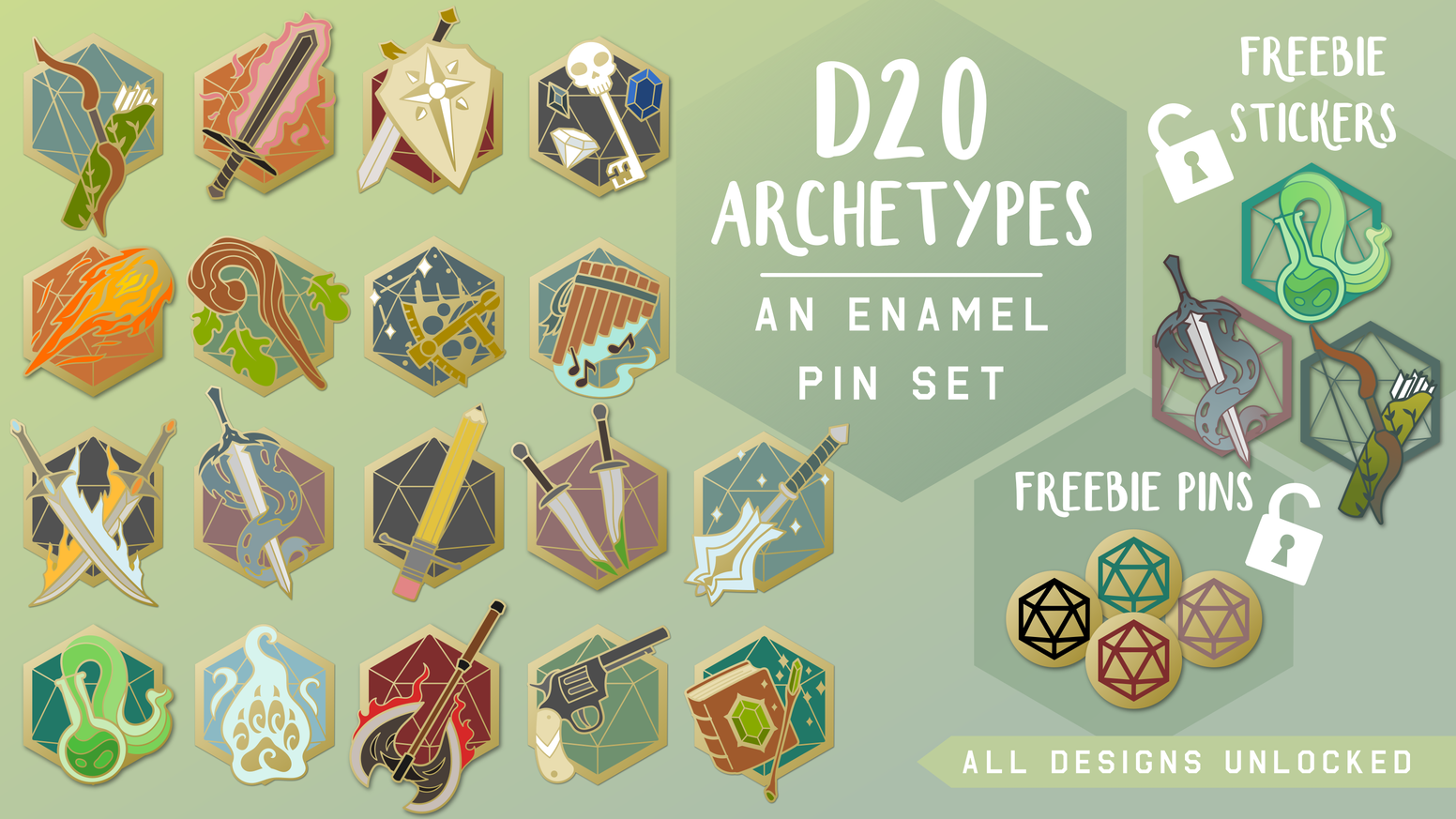 This series of enamel pin designs highlights role-playing game class archetypes for tabletop RPG fans.