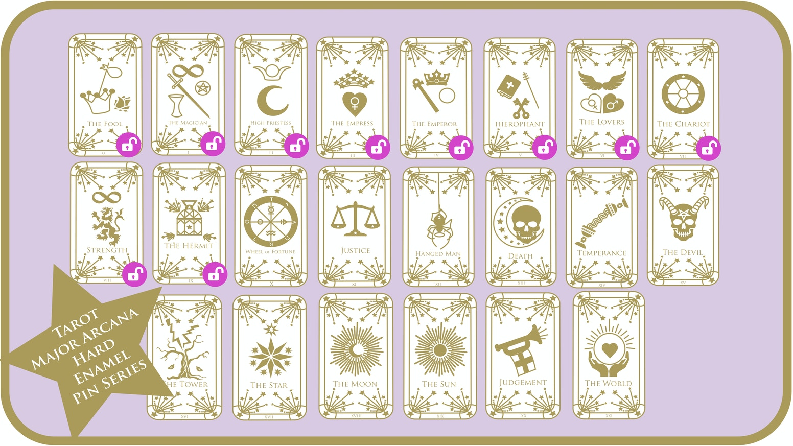 Tarot Major Arcana Hard Enamel Pins & Tarot Deck of Cards by