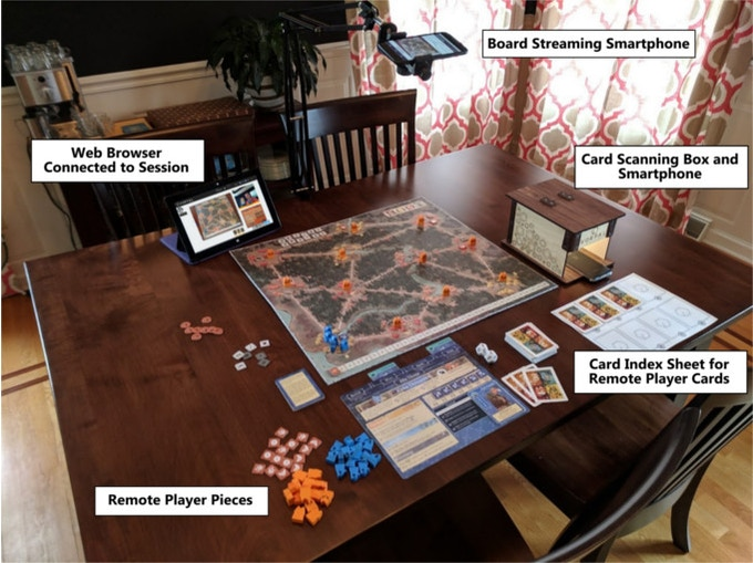 Setting up for a game of Root using two smartphones