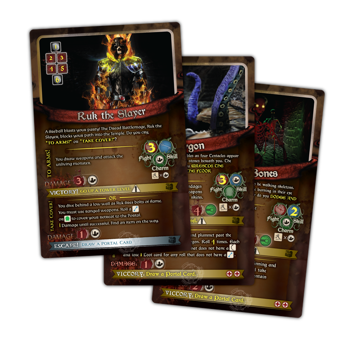 "Each 5"" x 8"" Tower Card presents you with a choice about how you want to face the Encounter."