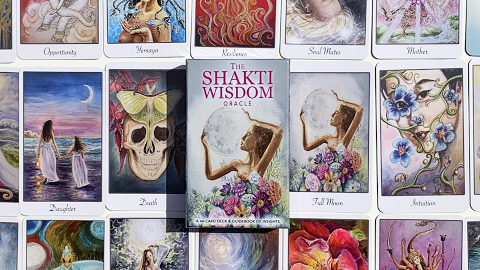 The Shakti Wisdom Oracle deck features beautiful imagery with affirmations to empower women.