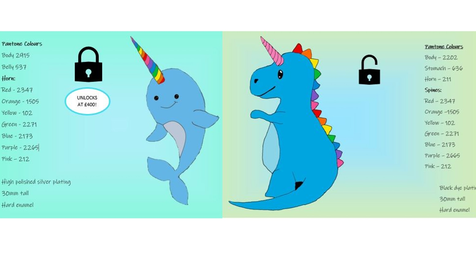 Rainbow Dinocorn and Narwhal hard enamel pin badges by Kayleigh Tait