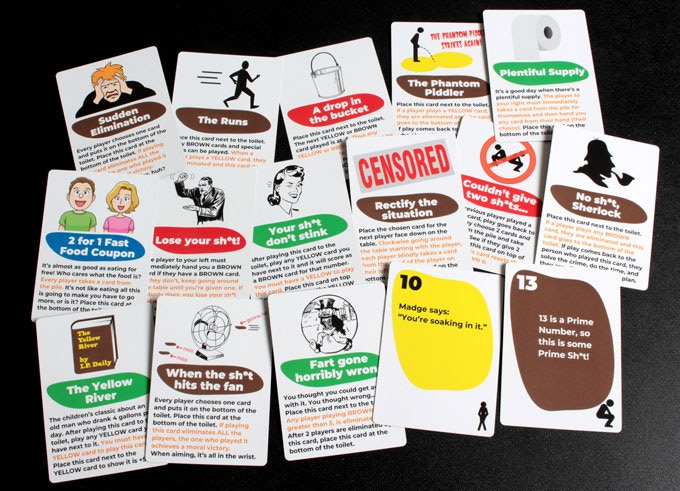 "Some of the cards from the Brown ""Flush it down"" edition"