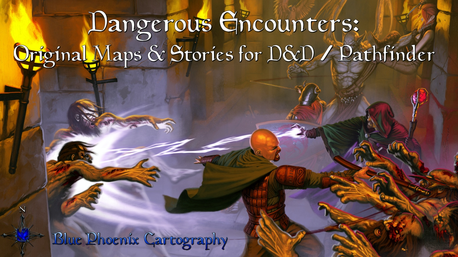 A collection of original Fantasy RPG encounters with maps for use with Dungeons & Dragons (D&D), Pathfinder, etc.