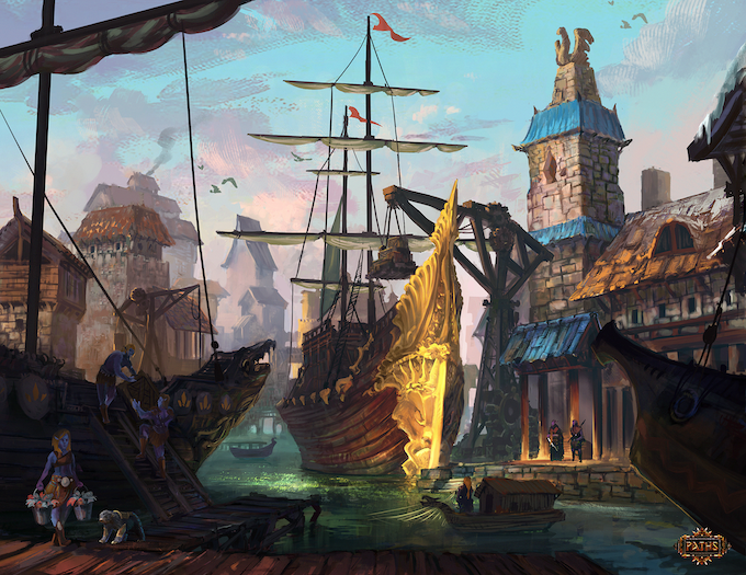 The Fire Crest Elven port of Shamradaer. Rare goods are being loaded and shipped from the docks.