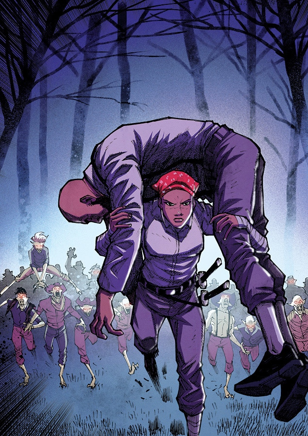 From Harriet Tubman : Demon Slayer #2. Art by Joey Vazquez . Colors by Josh Burcham.