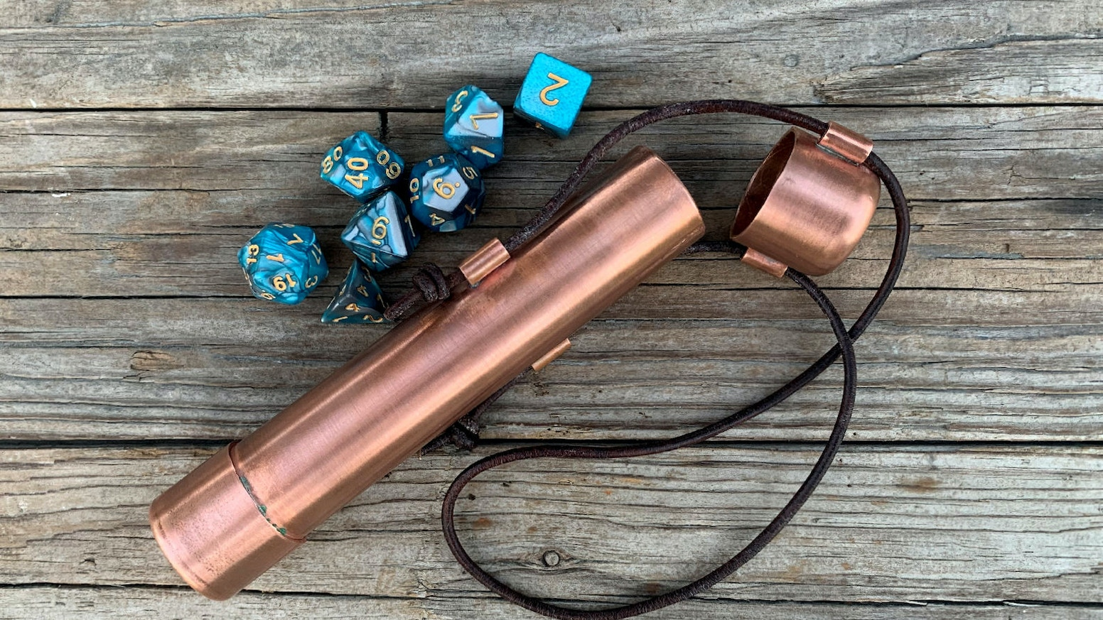 Dice Vaults in Bright Copper or Blue Patina Copper and a Treasure Hoard of Hand Struck Pewter Coins