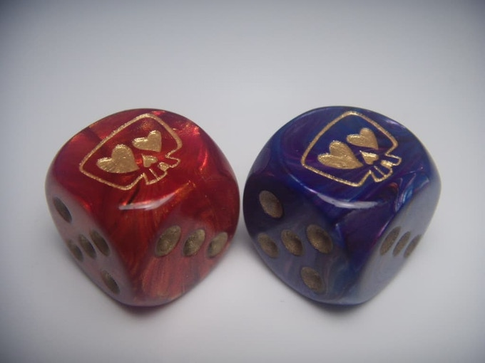 Chessex Scarab Scarlet/Gold and Chessex Lustrous Purple/Gold