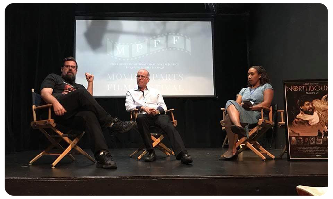 NORTHBOUND Co-Creator Nathan Anderson and Executive Producer Gary Bettman discuss Season 2 at the 2018 Moving Parts Film Festival in Los Angeles with moderator Monica Quinn