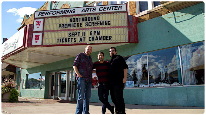 NORTHSTAR SAGA co-creators (L-R) Jason Hagen, Seth Anderson, and Nathan Anderson in front of the historic Braumart Theatre in downtown Iron Mountain, Michigan