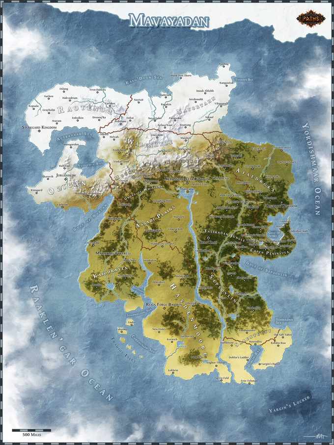 Map of Mavayadan. The first continent on Adia.