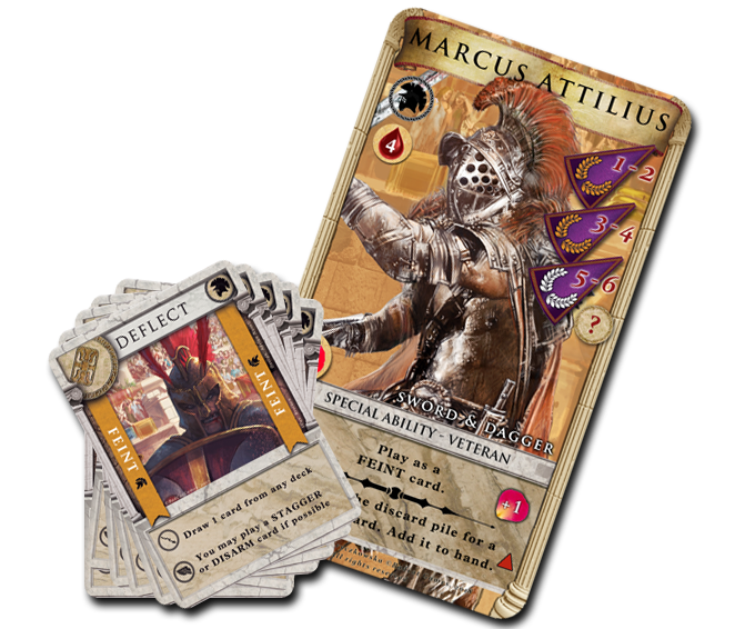 Each gladiator character comes with a unique set of combat skill move cards.
