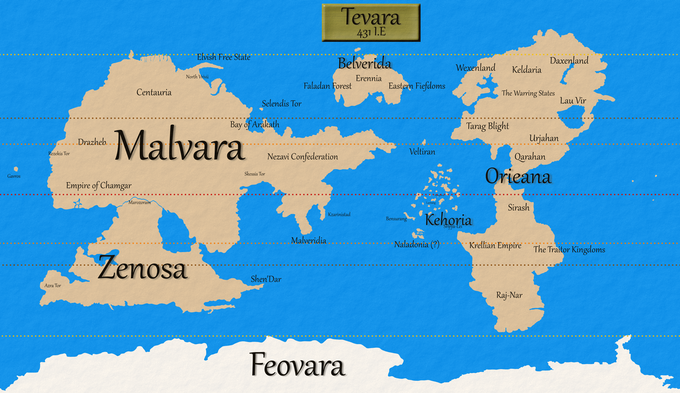 The current draft of the world map. It's not final. Most of the country/continents have their Erennian names shown, just as a bit of fun trivia for those who are interested.