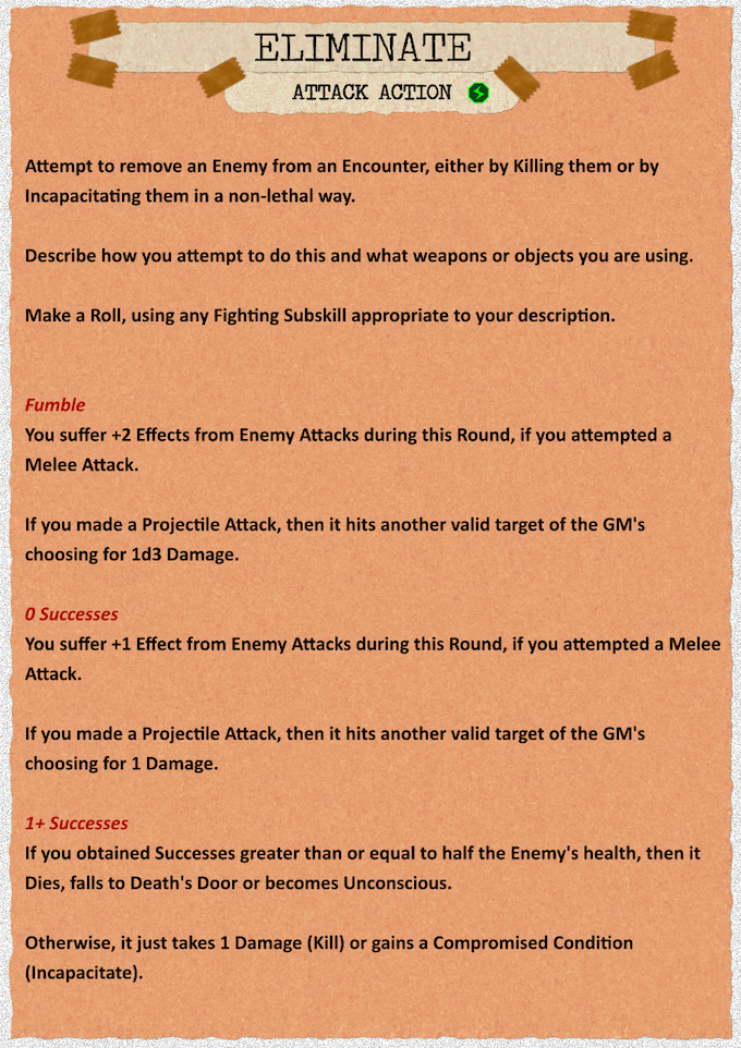 Draft page of one of three Attacks players can perform, intended to be so open-ended as to include all sorts of interesting Combat playstyles.