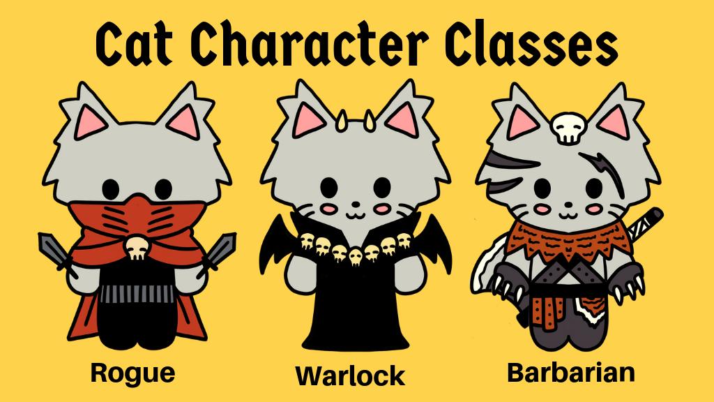 Project image for RPG Cat Soft Enamel Pins - Rogue, Warlock, Barbarian