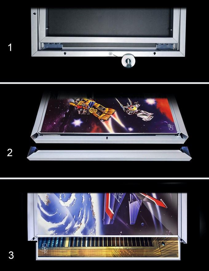 "To Change Art / 1: Unscrew screw on back of unit 24"" side / 2: Slide end out / 3: Slide out print or prints under plexiglas, place print on top you want to view / Holds up to 4 prints / Ships with 2 or 4 great prints"