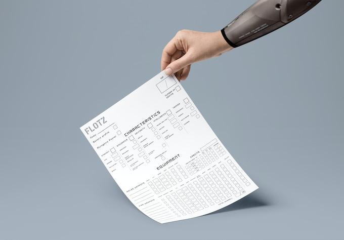 Character sheet V1, Front