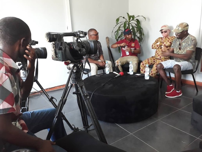 On Malawi TV with presenter Brian Banda, Spiwe (Lazarus manager), Lazarus & Esau Mwamwaya (from the band The Very Best)