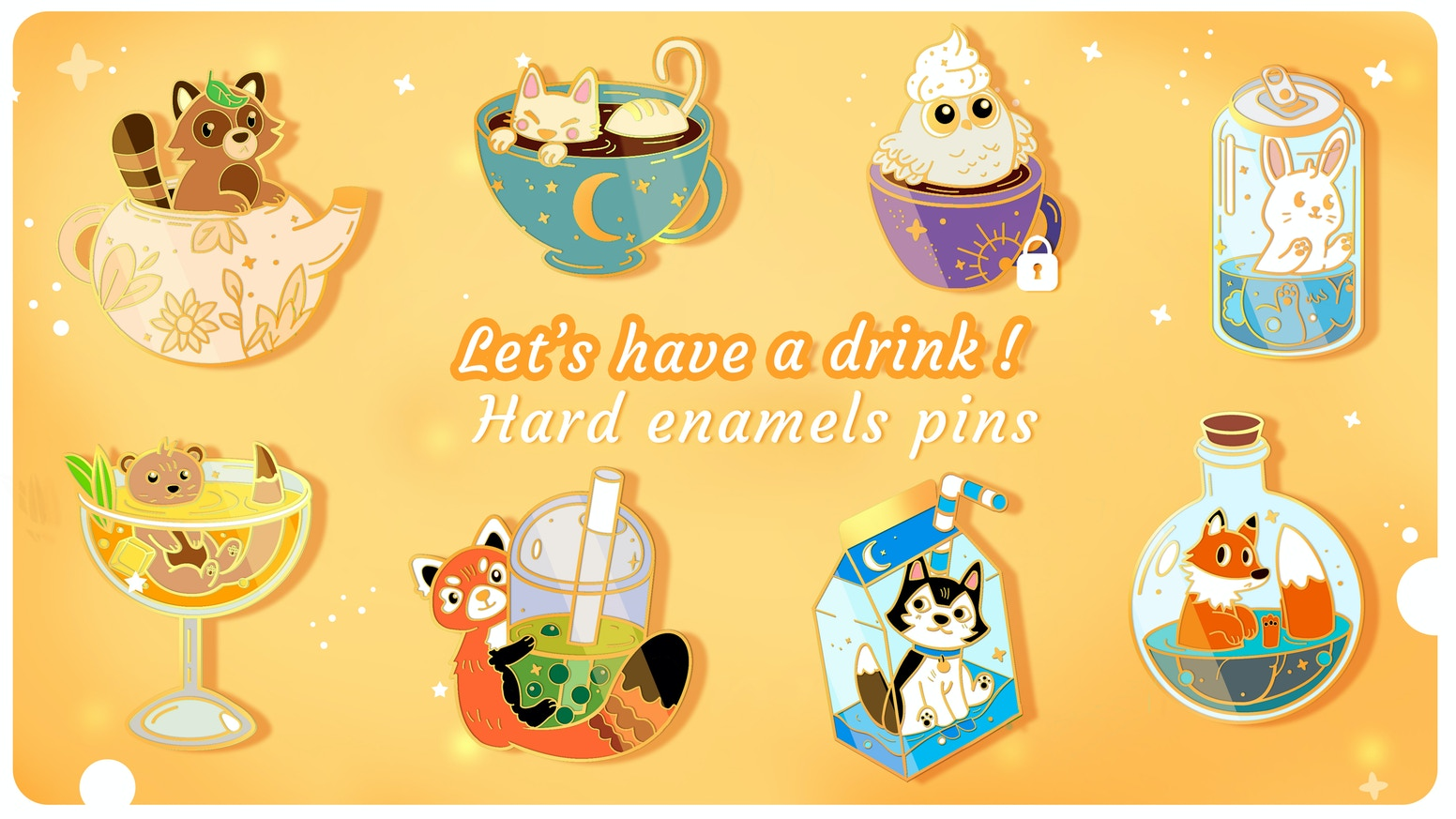 A cute set of 8 gold plated enamel pins figuring small animals and drinks ! <3