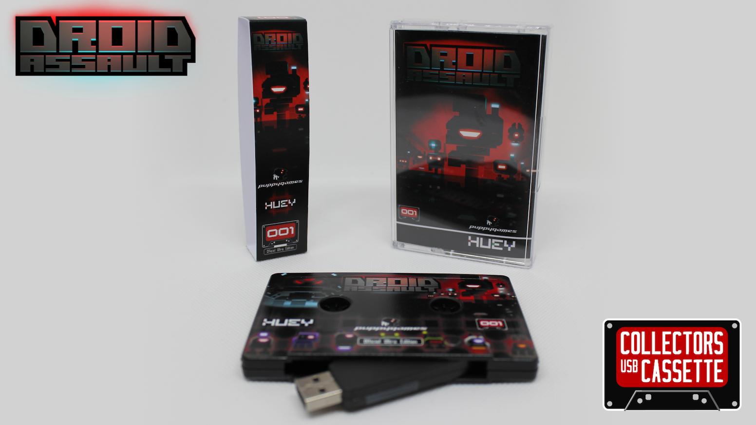 Exclusive collectors USB cassette featuring Droid Assault (DRM free) plus loads of bonus extras. Missed the Kickstarter? No problem, click below to get your copy.
