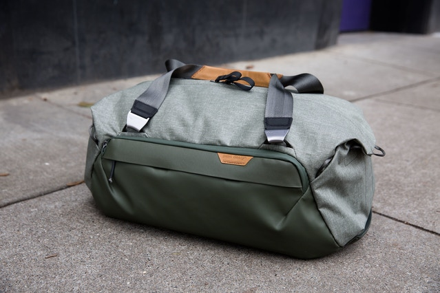 A closer look at the Safe Duffel 35L. This view gives you a better look at the Cord Hook hardware.