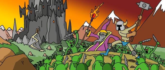 A wizard and a warrior battle a bunch of goabs.
