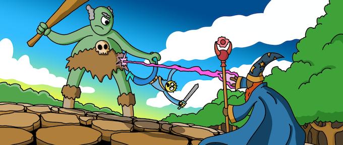 A wizard battles a giant to save his numan friend.