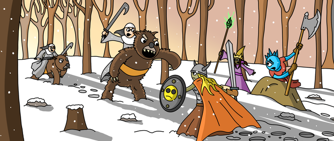 Agnuns ride grizzle bears into battle.