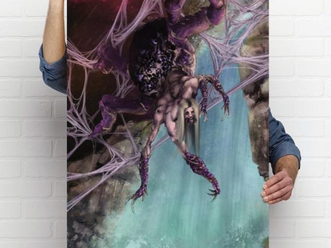 "24 by 36 inch poster: Japanese spider demon woman ""Jorogumo"" / Artist: Anthony Ojeda"