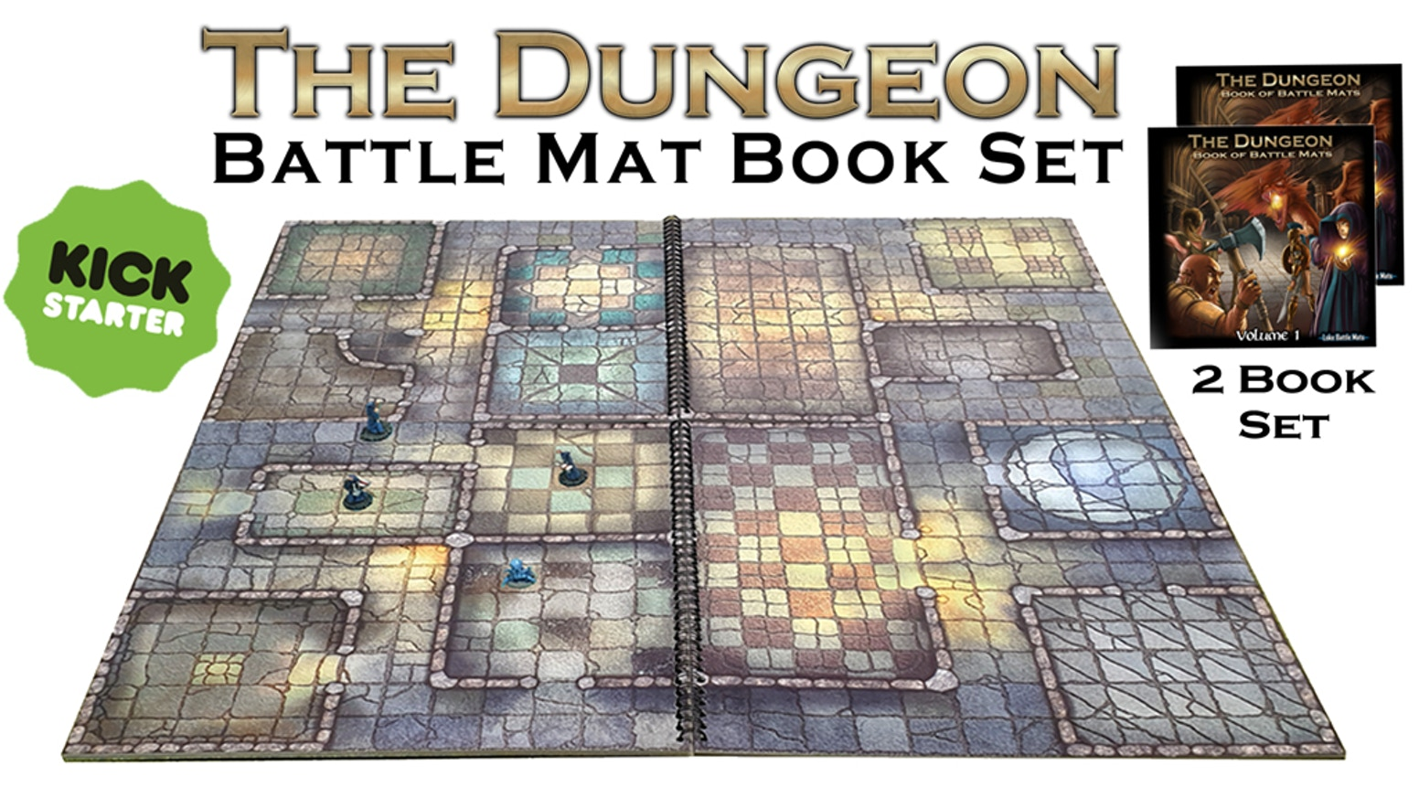 The Dungeon - Set of 2 Modular Books of Battle Mats for RPG by