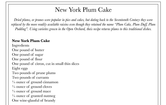 Sample historical recipe from the artist's research for The Open Orchard