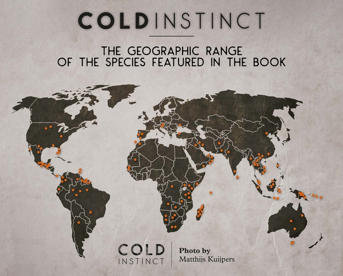 The geographic range of the coldblooded animals featured in the book