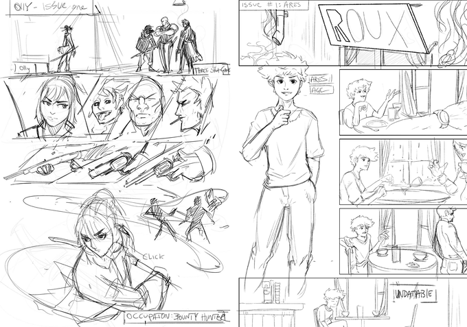 Sketches of Olly and Ares' comic chronicles.