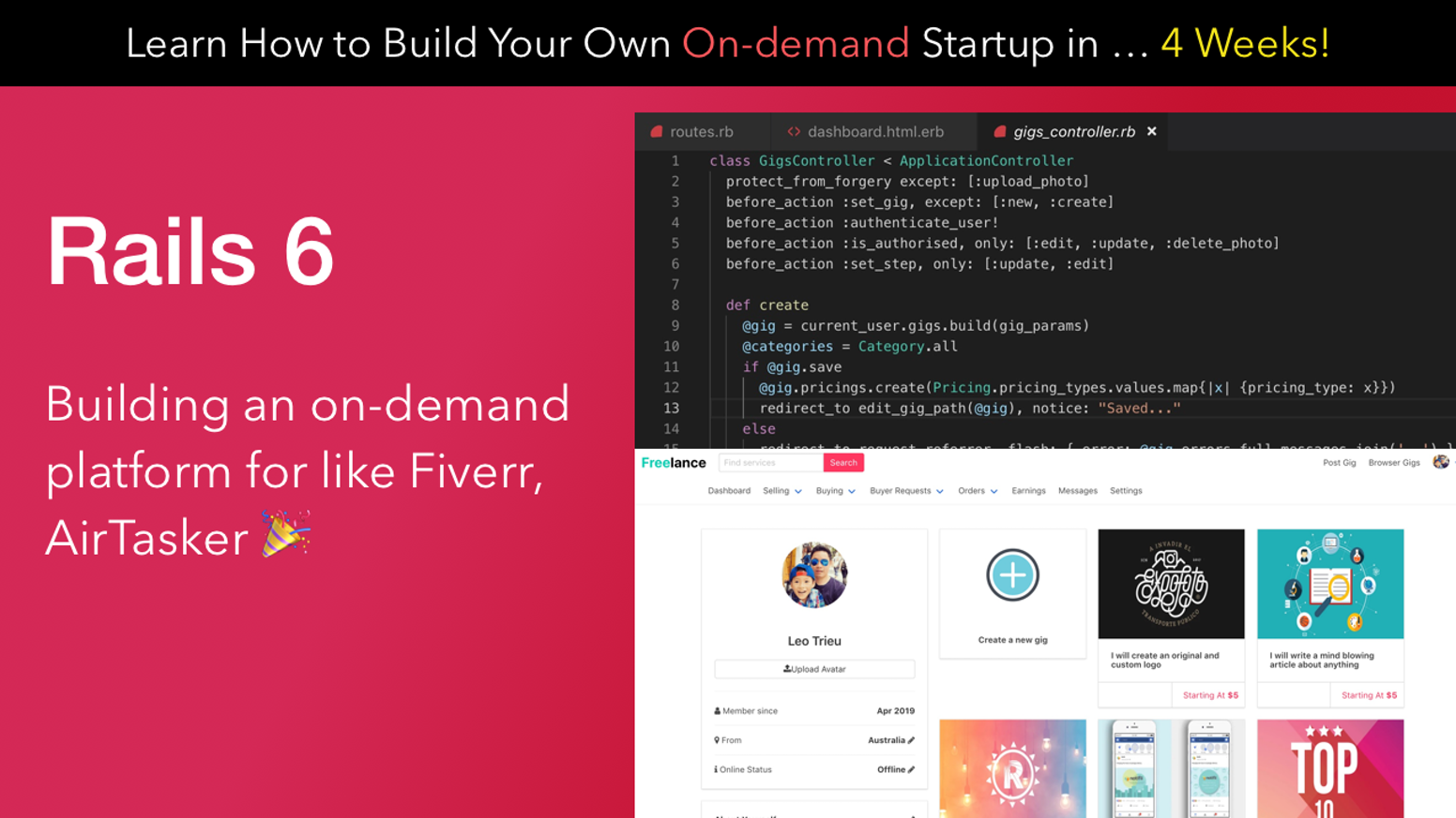 Learn how to build your on-demand startup with Rails 6 in 4 weeks