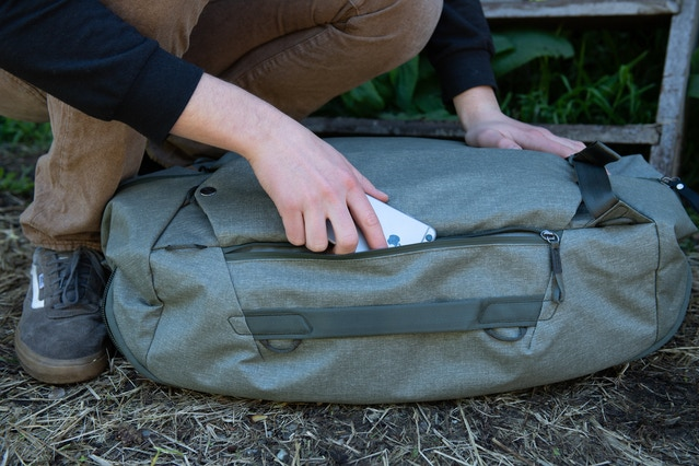 The Duffelpack 65L also features 2 external side pockets for additional storage. The pockets are voluminous enough to each fit a water bottle.