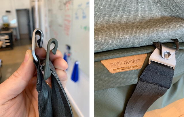 This image shows the hook gap, and how the hook attaches to cord loops on the bag. The gap must be within a specific width tolerance. If it's too narrow, it's too hard to connect and disconnect. Too wide, and it's too easy to remove. In our initial production run, the hardware gap was too wide on the metal hardware and too narrow on the plastic hardware. While it may have been unnoticeable to most users, it did not meet our stringent standards for strap attachment strength and security. So, we're getting these parts retooled.