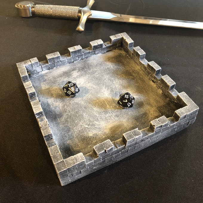 Solid Hydrostone Dice Tray - handmade and hand painted