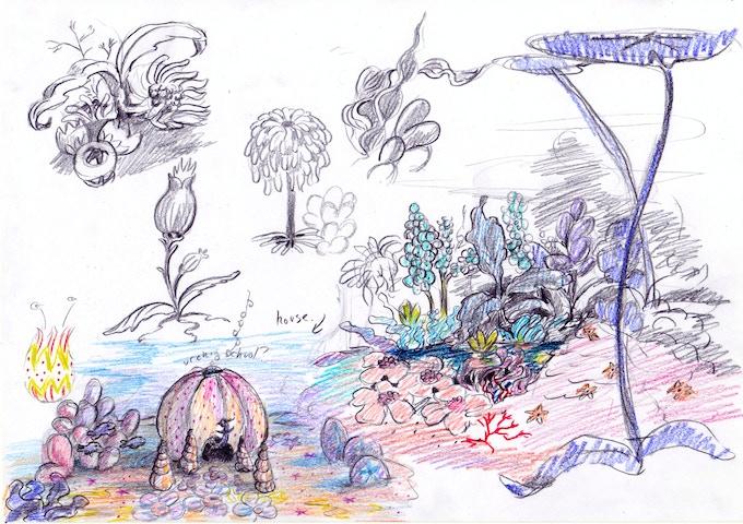 """Mermaid House and Mermādia Landscape Study"" by Esther Samuels-Davis"