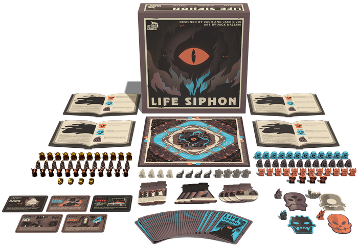 In this combat strategy game for 2-4 players, you are cursed humans, battling underground, cursed by an evil eye. Click the link below to preorder and get all the Kickstarter goodies!