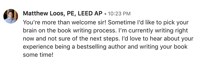Matt reached out to me on LinkedIn asking for some advice on publishing the book.
