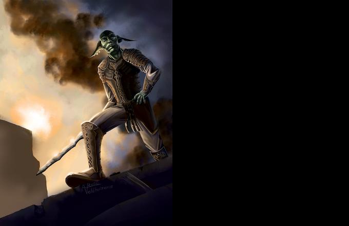 Pages 10 - 11 :  D'Inn the goblin veteran / Art by Alexia Veldhuisen