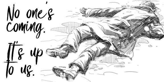 (pencil sketch of artwork)