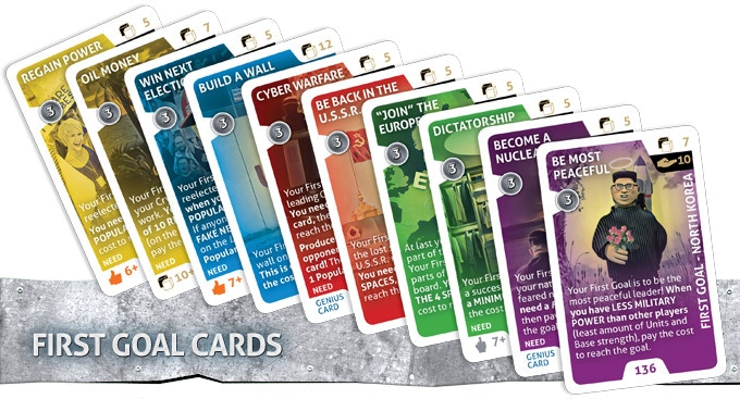 Before starting play, everyone chooses a First Goal card they are trying to achieve early in the game. When this is completed players can draw more powerful Level 2 cards and place two cards on the Leaderboard every round.