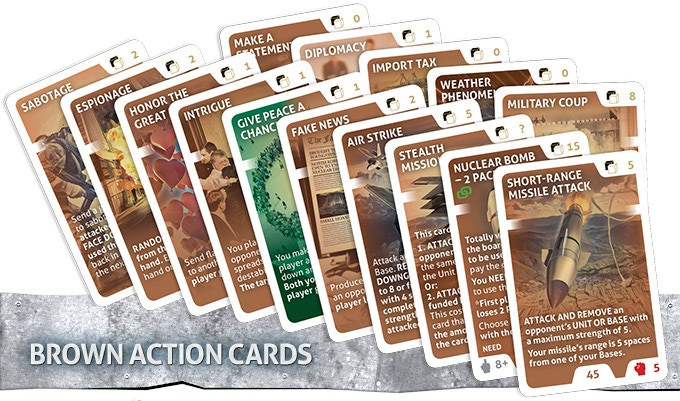 These cards affect other players. Make your opponents lose or gain Ego or become more or less popular. Attack opponents Bases, Units and project cards using Brown Actions Cards.