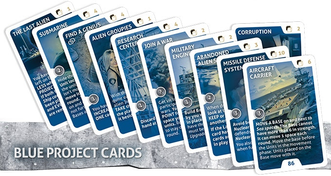 These cards have actions that you can keep throughout the game. The cards can also earn you Victory points or give you other advantages. Popularity, Ego and Victory points from Blue Project Cards will stay with you even if cards are attacked and removed, or temporary sabotaged.