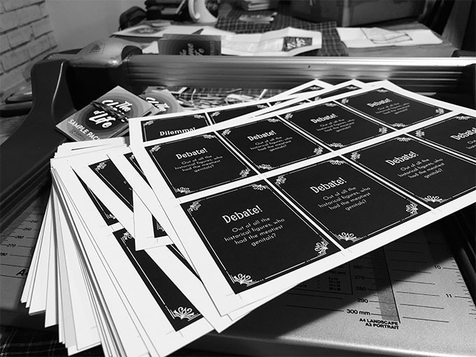 That time when I thought it'd be a good idea to manually cut out 50 sample decks (30 cards per deck) for members of The Shame Trust.